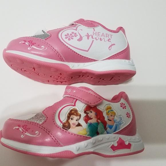 Disney Princess Princess Little Girl Light Up Sandals Shoes Size 8 White Pink
